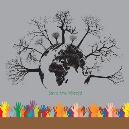 eco energy over gray  illustration