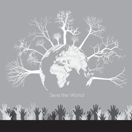 eco energy: eco energy over gray illustration