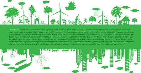 reciclar: Ir ciudad verde. Industria el desarrollo sostenible con la ilustración de la conservación del medio ambiente