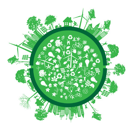 permaculture: green earth - sustainable development concept