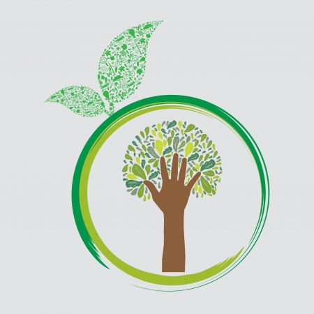 save icon: green earth - sustainable development concept