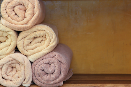 clean kitchen: Freshly washed rolled towels