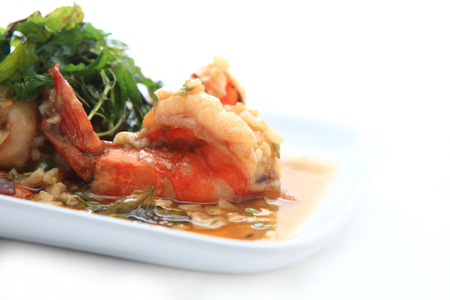 Thai food, shrimp ,with chili pepper and sweet basil photo