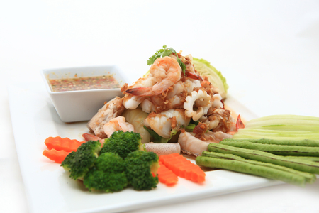 Seafood Thai Style salad in thai restaurant Stock Photo - 24102963