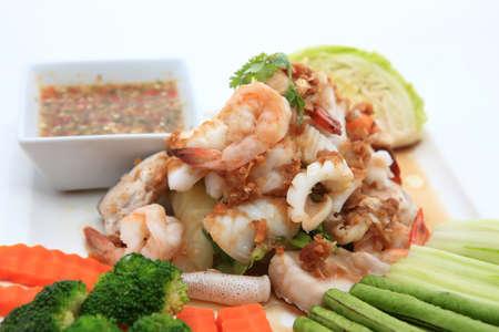 Seafood Thai Style salad in thai restaurant Stock Photo - 24102964