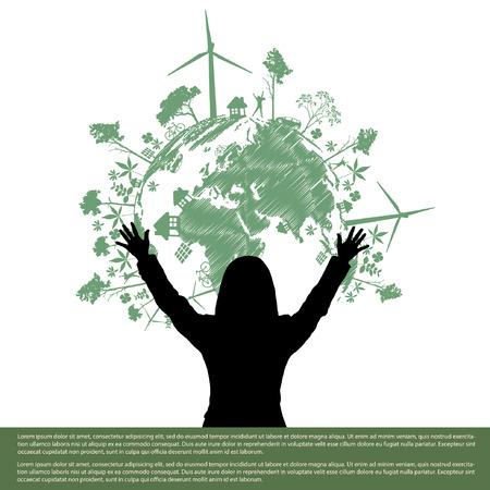 biological waste: Estilo Mano salvar la idea de �rbol Tierra