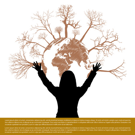 biological waste: Hand style save the Earth tree idea