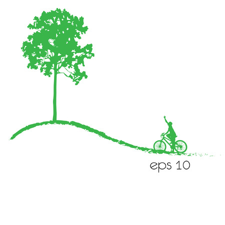 tree an bicycle over white illustration. Vector