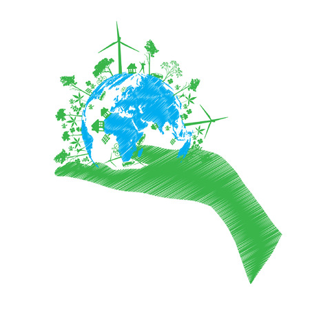 solarpower: green eco world isolated on white