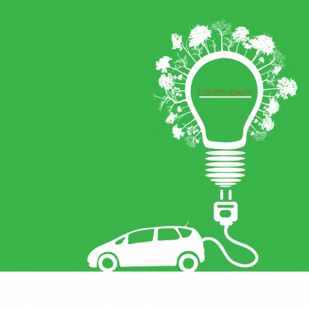 electric car design  (light bulb with socket)  Vector
