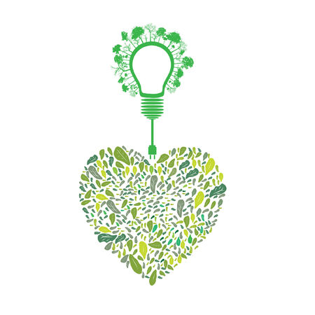 green eco energy concept, plant growing on light bulb Vector