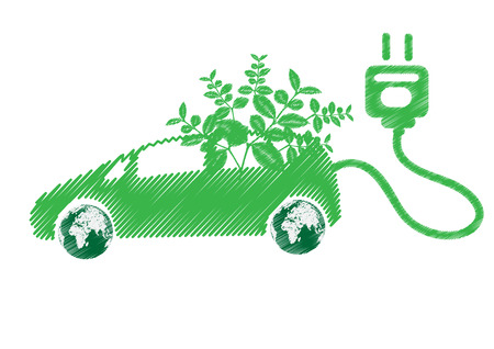 toxic emissions: Electric car technology concept isolated on white