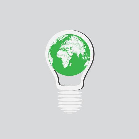 Light Bulb with Earth Globe concept Vector