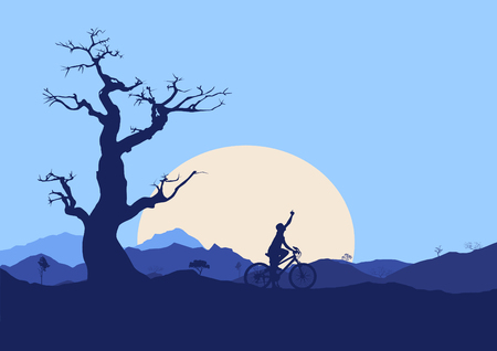 cyclist silhouette: Biker Silhouette with mountains and sunset Illustration