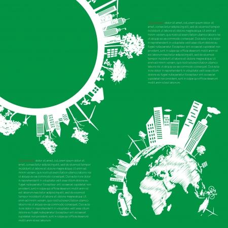 sustentabilidad: concepto de vida de la ciudad moderna infograf�a Verde y el concepto ECO