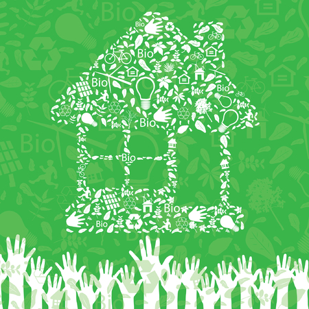 Hands holding home Vector