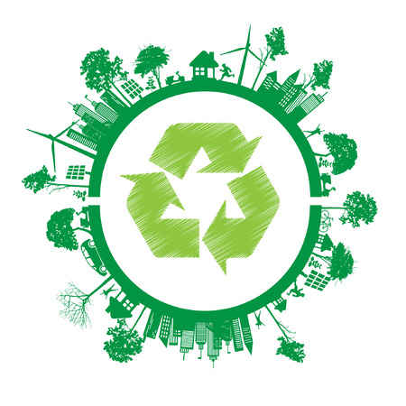 eco house: Green Eco Earth, Isolated On White Illustration Illustration