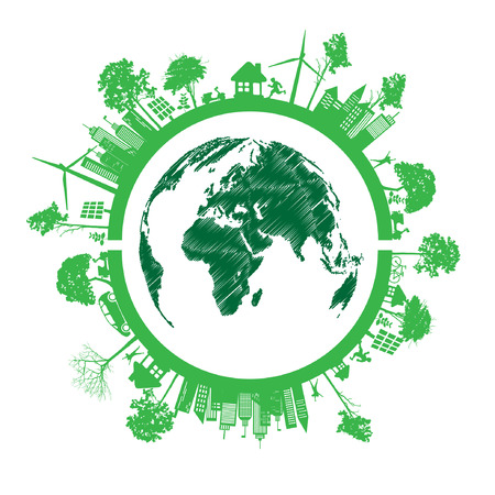 Green Eco Earth, Isolated On White Illustration Vector