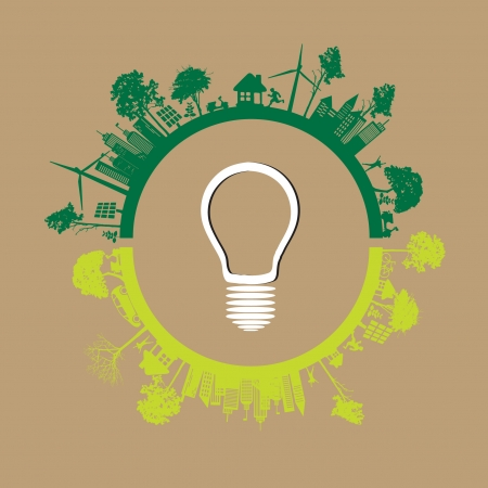 Green Eco Earth On Brown Illustration Vector