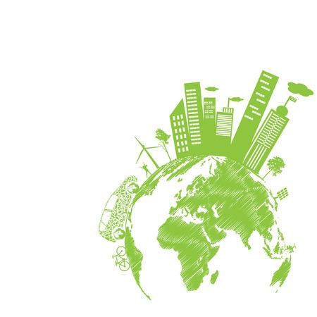 city living:  Green modern city living concept. and ECO concept Illustration