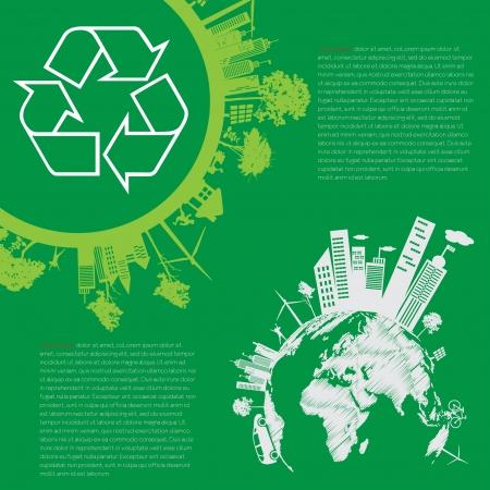 reforestaci�n: concepto de vida de la ciudad moderna infograf�a Verde y el concepto ECO