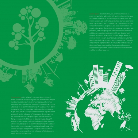 city living: infographics Green modern city living concept and ECO concept