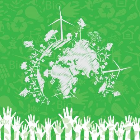 leaf water drop: Save the earth illustration Illustration