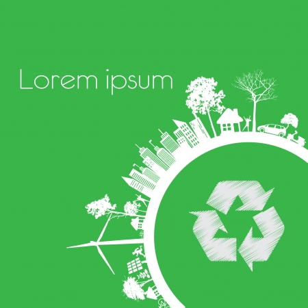 Green modern city living concept and ECO concept  Vector