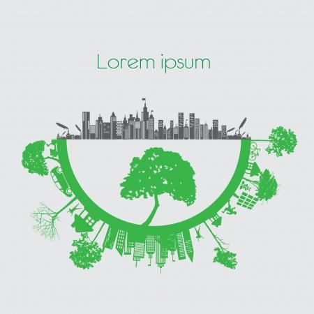reforestaci�n: ciudad moderna concepto de vida y el concepto ECO