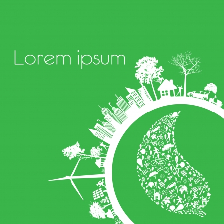 Green modern city living concept and ECO concept  Illustration