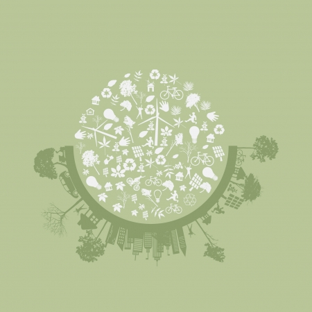 permaculture: city living concept. and ECO concept Illustration