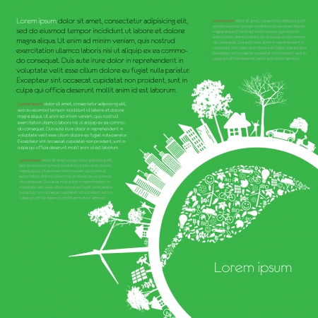 city living: infographics Green modern city living concept