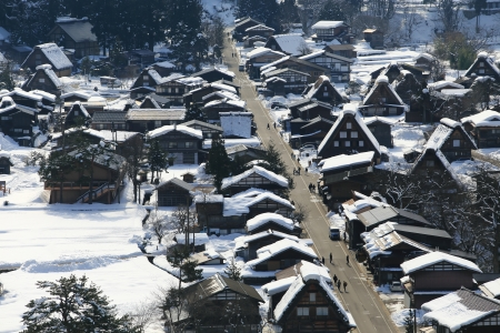 gassho zukuri: View from the Shiroyama Viewpoint at Gassho-zukuri Village, Shirakawago, Japan
