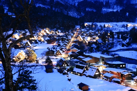 shirakawago: World Heritage, Light up of Shirakawago, Japan Stock Photo