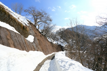 An up hill winding road leads people to Shiroyama Viewpoint photo