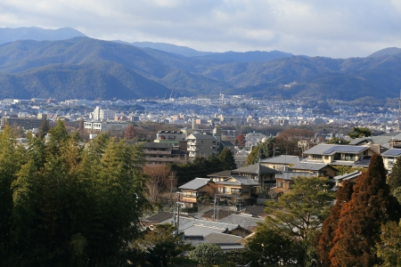 Kyoto, Japan - city in the region of Kansai. Aerial view with skyscrapers photo