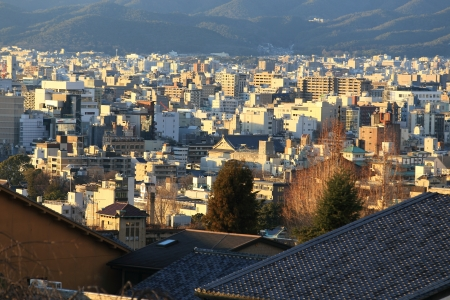 Kyoto, Japan - city in the region of Kansai  Aerial view with skyscrapers photo
