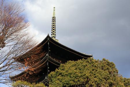 storied: Daigoji Temple Five-storied Pagoda in spring, kyoto, japan
