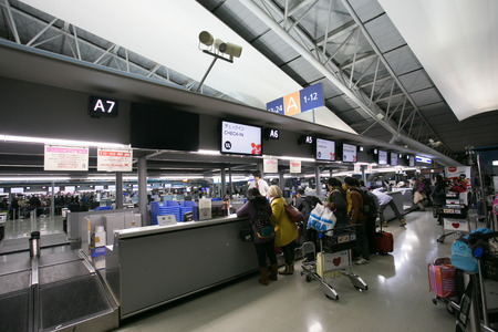 OSAKA, JAPAN - January 20, 2014: Kansai International Airport opened 4 September 1994 to relieve overcrowding at Osaka International Airport, which is closer to the city of Osaka and now handles only domestic flights