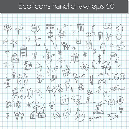 Vector hand drawn design elements - eco
