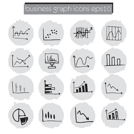 data chart icons set, business data analysis concept, sketched style Vector