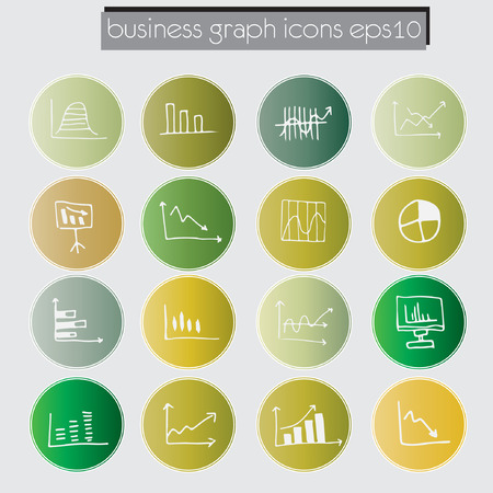 data chart icons set, business data analysis concept, sketched style