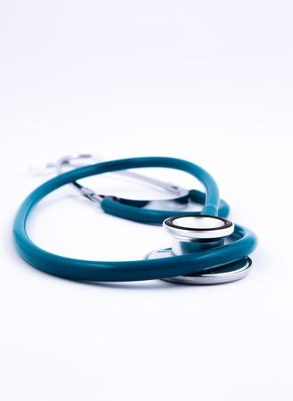phonendoscope: a medical stethoscope on a white background Stock Photo