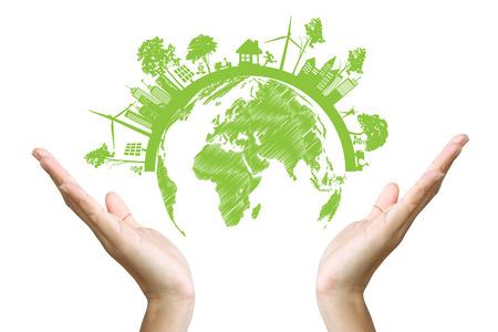 緑のエコ地球、白い背景で隔離されます。 写真素材