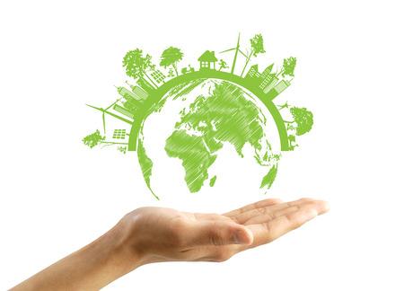 Green Eco Aarde, op een witte achtergrond Stockfoto