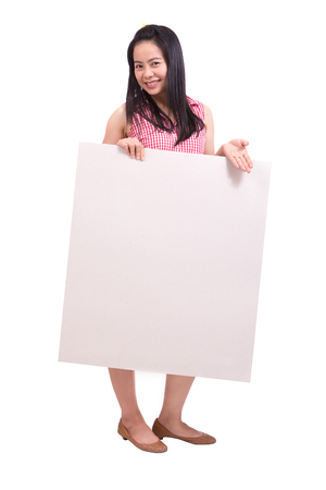 beautiful young woman holding a white banner photo