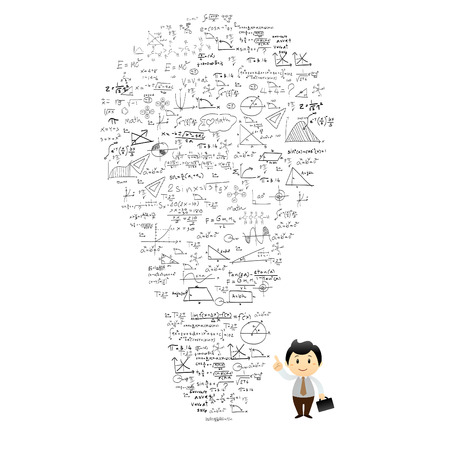 Bulb and formulas  The idea of  vector background Vector