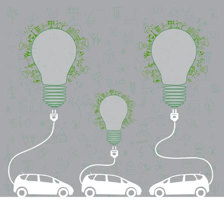 electric car design  light bulb with socket  Vector