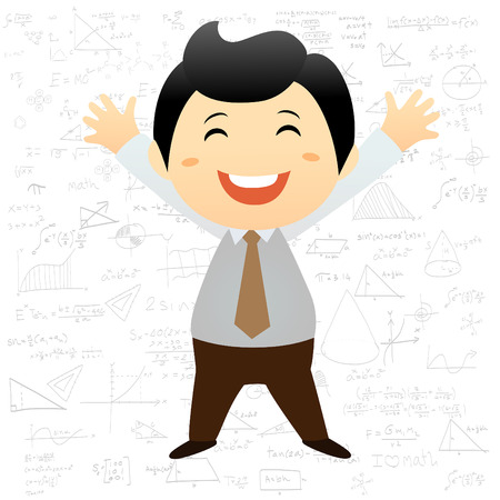 Smart boy cartoon background with math and science formulas Illustration