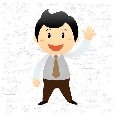 Smart boy cartoon background with math and science formulas Vector